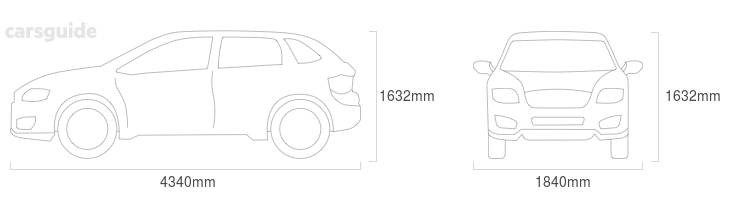Dimensions for the Peugeot 4008 2012 Dimensions  include 1632mm height, 1840mm width, 4340mm length.