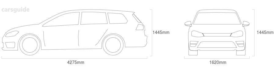 Dimensions for the Subaru L Series 1983 Dimensions  include 1445mm height, 1620mm width, 4275mm length.