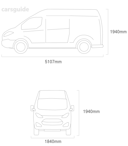 Dimensions for the Volkswagen Transporter 1998 Dimensions  include 1940mm height, 1840mm width, 5107mm length.