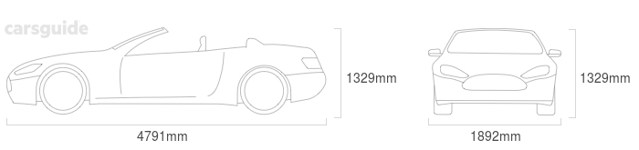 Dimensions for the Jaguar XKR 2008 include 1329mm height, 1892mm width, 4791mm length.