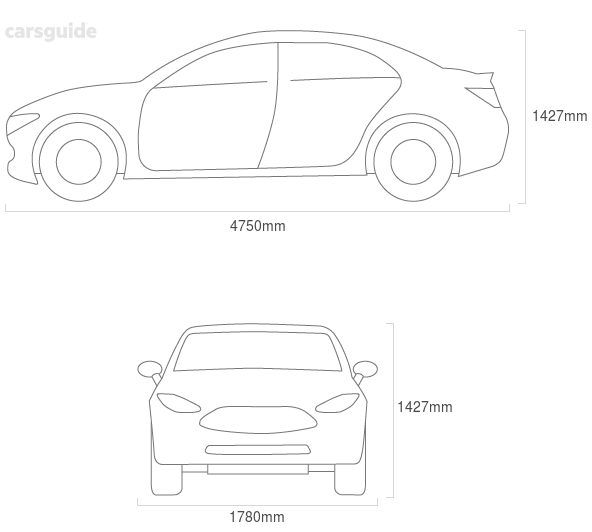 Dimensions for the Rover 75 2004 Dimensions  include 1427mm height, 1780mm width, 4750mm length.