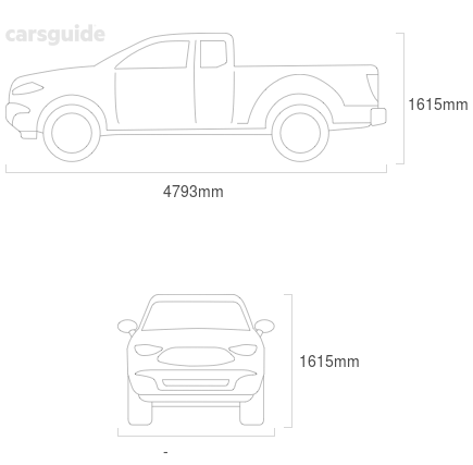 Dimensions for the Mazda B2500 2005 Dimensions  include 1615mm height, — width, 4793mm length.
