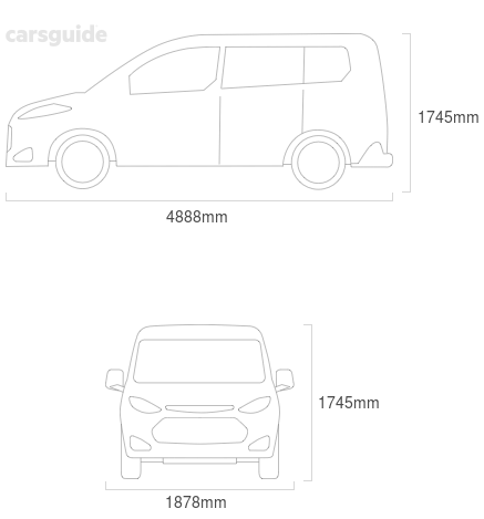 Dimensions for the Dodge Journey 2011 include 1745mm height, 1878mm width, 4888mm length.