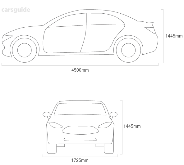 Dimensions for the Daewoo Lacetti 2004 Dimensions  include 1445mm height, 1725mm width, 4500mm length.
