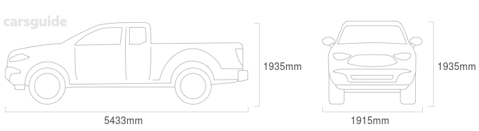 Dimensions for the Foton Tunland 2014 Dimensions  include 1935mm height, 1915mm width, 5433mm length.