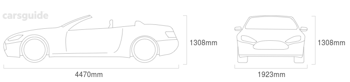 Dimensions for the Jaguar F-Type 2013 Dimensions  include 1308mm height, 1923mm width, 4470mm length.