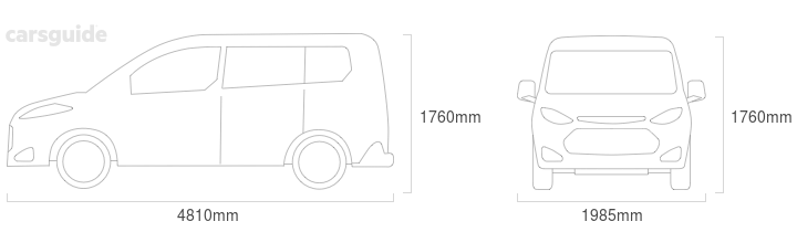 Dimensions for the Kia Carnival 2007 include 1760mm height, 1985mm width, 4810mm length.