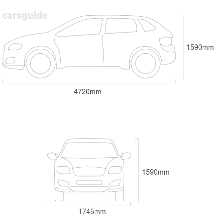 Dimensions for the Subaru Outback 2002 include 1590mm height, 1745mm width, 4720mm length.