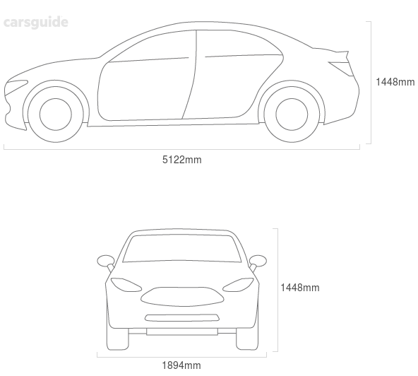 Dimensions for the Jaguar XJ 2014 Dimensions  include 1448mm height, 1894mm width, 5122mm length.