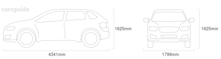 Dimensions for the Citroen C4 Aircross 2012 Dimensions  include 1625mm height, 1799mm width, 4341mm length.