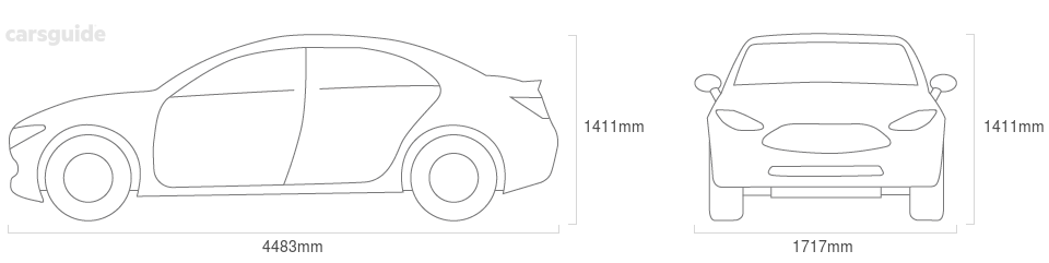 Dimensions for the Volvo S40 1999 Dimensions  include 1411mm height, 1717mm width, 4483mm length.