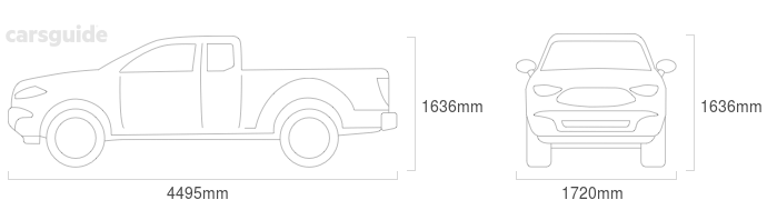 Dimensions for the Holden Rodeo 2004 Dimensions  include 1636mm height, 1720mm width, 4495mm length.