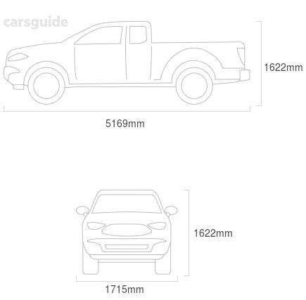 Dimensions for the Ford Ranger 2007 Dimensions  include 1622mm height, 1715mm width, 5169mm length.