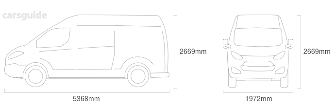 Dimensions for the Ford Transit 1994 Dimensions  include 2669mm height, 1972mm width, 5368mm length.