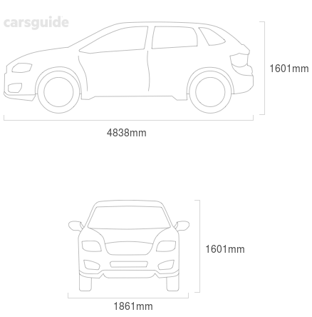Dimensions for the Volvo XC70 2016 include 1601mm height, 1861mm width, 4838mm length.