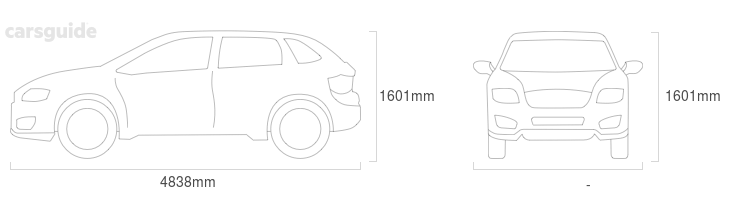 Dimensions for the Volvo XC70 2014 include 1601mm height, — width, 4838mm length.