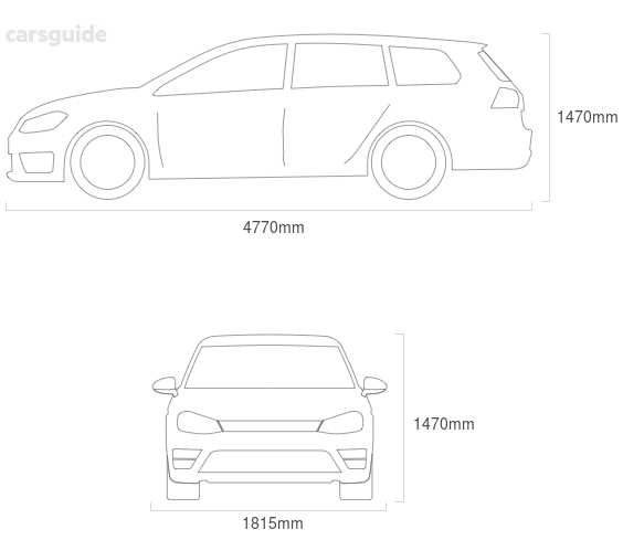 Dimensions for the Hyundai I40 2011 Dimensions  include 1470mm height, 1815mm width, 4770mm length.
