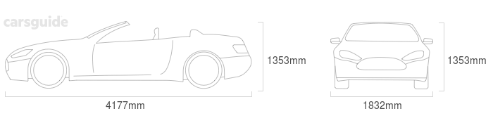 Dimensions for the Audi TT 2019 Dimensions  include 1353mm height, 1832mm width, 4177mm length.