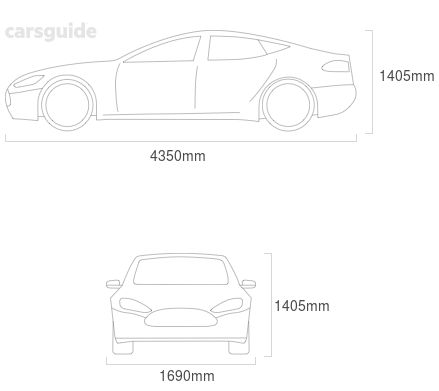 Dimensions for the Subaru Impreza 1999 Dimensions  include 1405mm height, 1690mm width, 4350mm length.