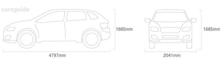 Dimensions for the Land Rover RANGE ROVER VELAR 2020 Dimensions  include 1685mm height, 2041mm width, 4797mm length.
