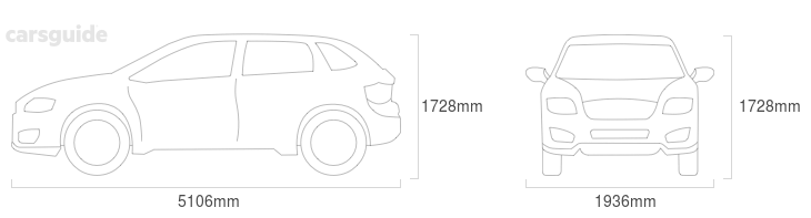 Dimensions for the Mazda CX-9 2013 include 1728mm height, 1936mm width, 5106mm length.