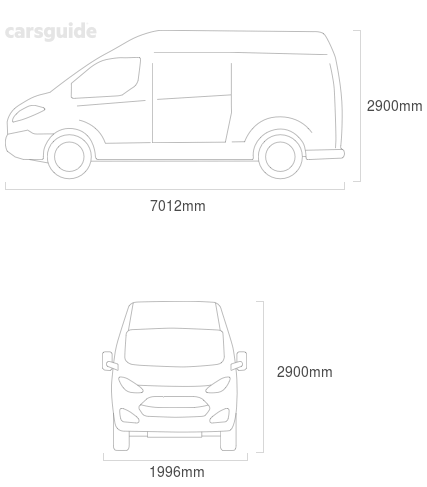 Dimensions for the Iveco Daily 2003 Dimensions  include 2900mm height, 1996mm width, 7012mm length.