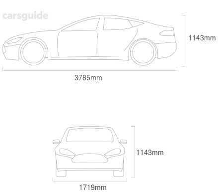 Dimensions for the Lotus Exige 2004 Dimensions  include 1143mm height, 1719mm width, 3785mm length.