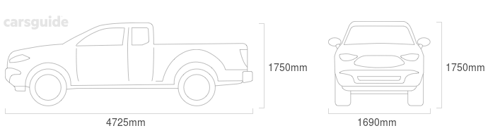 Dimensions for the Toyota HiLux 1997 Dimensions  include 1750mm height, 1690mm width, 4725mm length.