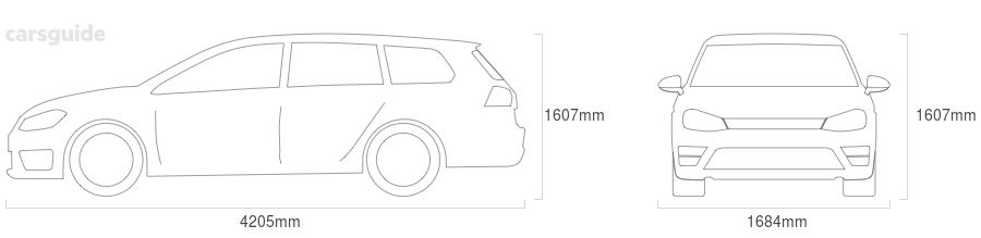 Dimensions for the Skoda Roomster 2009 include 1607mm height, 1684mm width, 4205mm length.