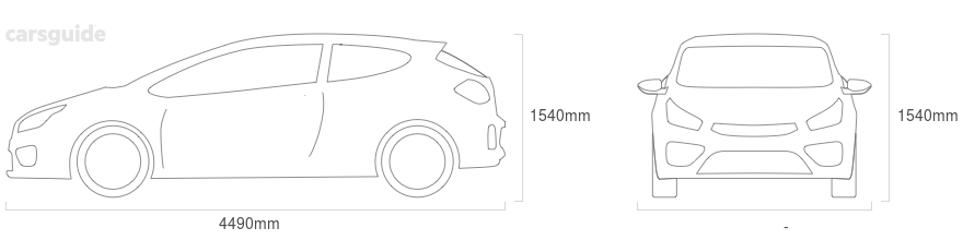 Dimensions for the Nissan Leaf 2020 Dimensions  include 1540mm height, — width, 4490mm length.