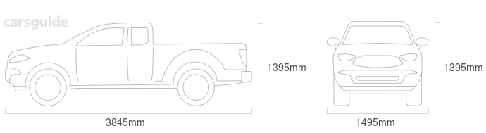 Dimensions for the Datsun 1200 1985 Dimensions  include 1395mm height, 1495mm width, 3845mm length.