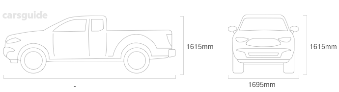 Dimensions for the Mazda B2600 2001 include 1615mm height, 1695mm width, — length.