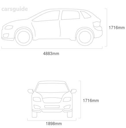 Dimensions for the Ford Territory 2014 include 1716mm height, 1898mm width, 4883mm length.