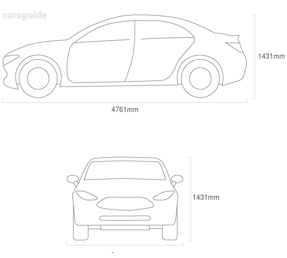Dimensions for the Volvo S60 2020 include 1431mm height, — width, 4761mm length.
