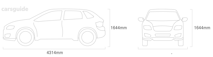 Dimensions for the MG ZS 2020 Dimensions  include 1644mm height, — width, 4314mm length.