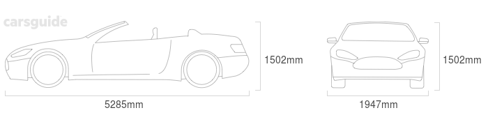 Dimensions for the Rolls-Royce Dawn 2015 Dimensions  include 1502mm height, 1947mm width, 5285mm length.