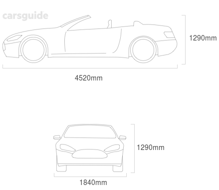 Dimensions for the De Tomaso Longchamp 1983 Dimensions  include 1290mm height, 1840mm width, 4520mm length.