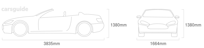 Dimensions for the Peugeot 206 2002 Dimensions  include 1380mm height, 1664mm width, 3835mm length.