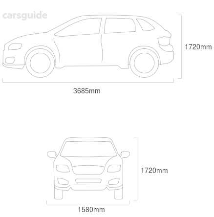 Dimensions for the Daihatsu Feroza 1989 Dimensions  include 1720mm height, 1580mm width, 3685mm length.