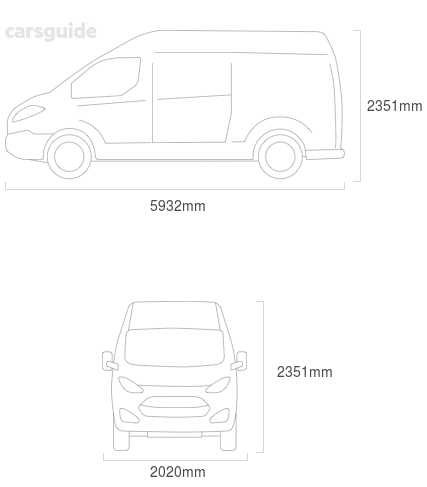 Dimensions for the Mercedes-Benz Sprinter 2020 include 2351mm height, 2020mm width, 5932mm length.
