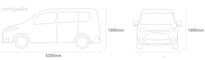 Dimensions for the Toyota Granvia 2020 include 1990mm height, — width, 5300mm length.