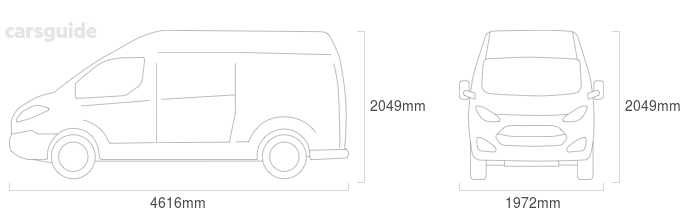 Dimensions for the Ford Transit 1996 Dimensions  include 2049mm height, 1972mm width, 4616mm length.