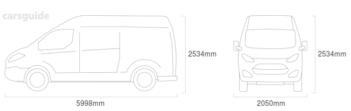 Dimensions for the Fiat DUCATO 2015 Dimensions  include 2534mm height, 2050mm width, 5998mm length.
