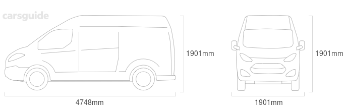 Dimensions for the Mercedes-Benz Vito 2013 include 1901mm height, 1901mm width, 4748mm length.
