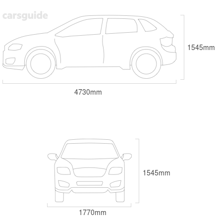 Dimensions for the Subaru Outback 2008 Dimensions  include 1545mm height, 1770mm width, 4730mm length.