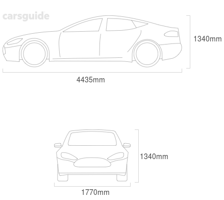 Dimensions for the Mazda RX-8 2005 Dimensions  include 1340mm height, 1770mm width, 4435mm length.