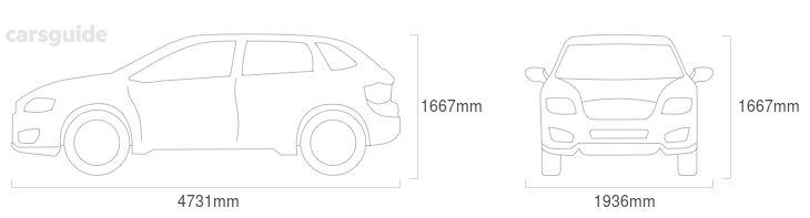Dimensions for the Jaguar F-Pace 2016 Dimensions  include 1667mm height, 1936mm width, 4731mm length.