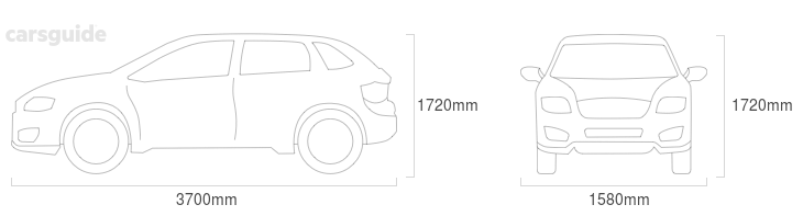 Dimensions for the Daihatsu Feroza 1994 Dimensions  include 1720mm height, 1580mm width, 3700mm length.