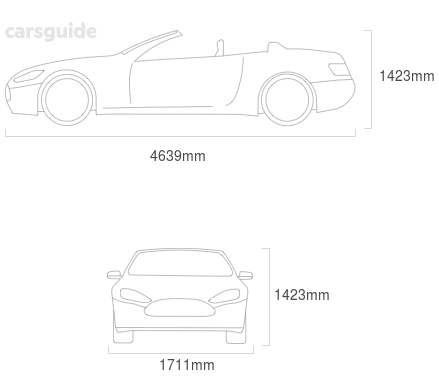 Dimensions for the Saab 9-3 2001 Dimensions  include 1423mm height, 1711mm width, 4639mm length.