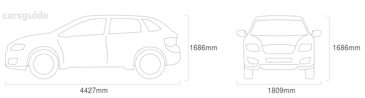 Dimensions for the Volkswagen Tiguan 2013 include 1686mm height, 1809mm width, 4427mm length.